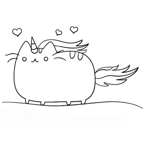 gato unicornio kawaii para colorear