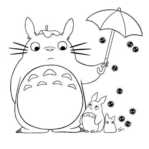 Totoro lluvia kawaii