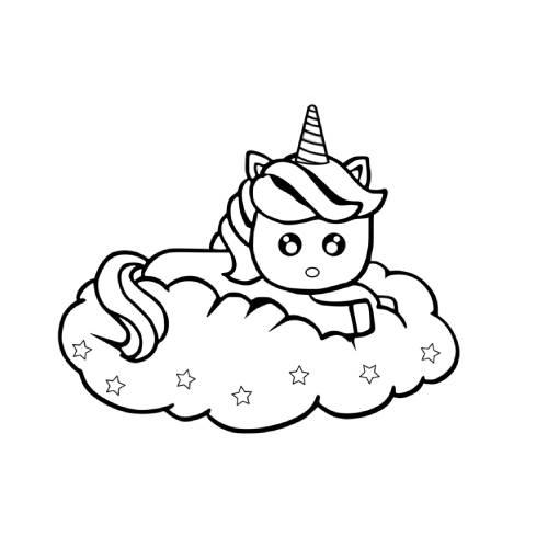 unicornio kawaii dibujo nube