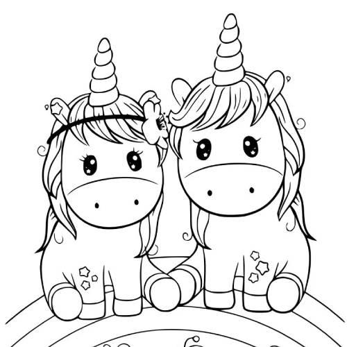 pareja unicornios kawaii para colorear