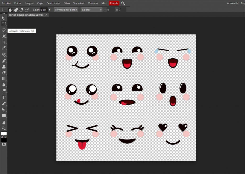 Selección rectangular emoji kawaii