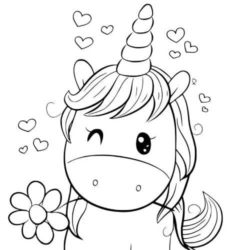 Unicornio Kawaii con flor para pintar