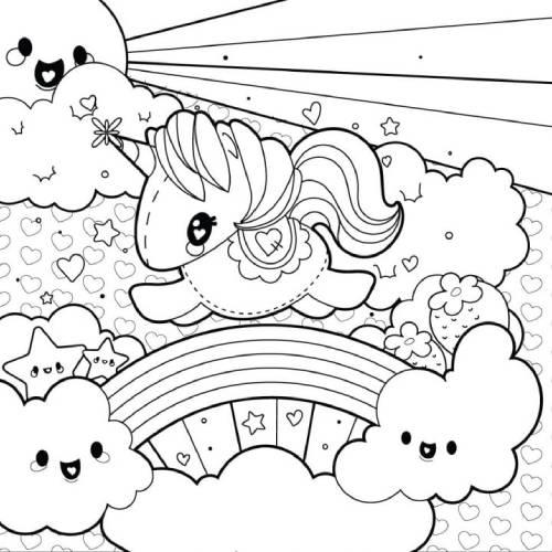 mundo unicornio kawaii para colorear